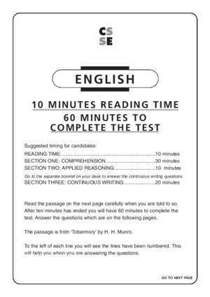 ENGLISH FAMILIARISATION PRACTICE PAPER FOR FIRST USE ?