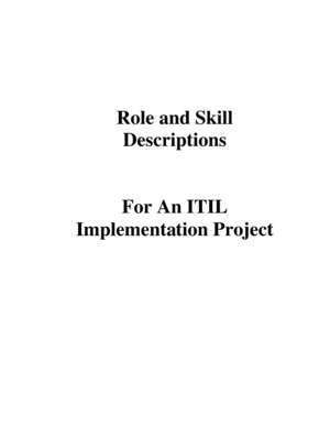ITIL Project Role and Skills Descriptions