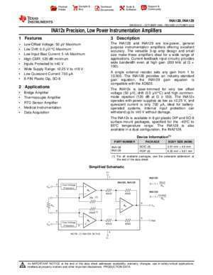 129 page 2 : INA12x Precision, Low Power Instrumentation Amplifiers