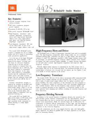 4425 : 4425 Specification Document JBL Professional