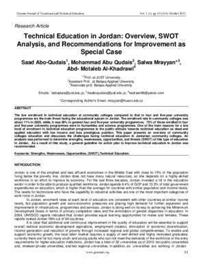 Technical Education in Jordan: Overview, Swot Analysis, and