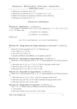 Exercices - Applications - Injection - surjection