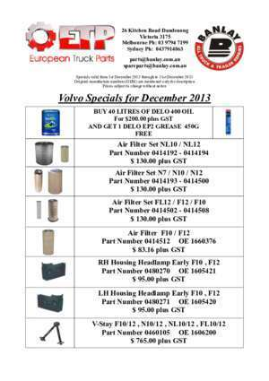 Scania Specials for December 2013 - European Truck Parts