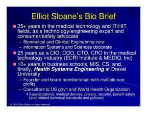 Elliot : Effects of HIPAA, ARRA- and FDA- related security issues