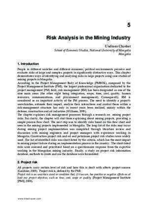 19862 : Risk Analysis in the Mining Industry InTech