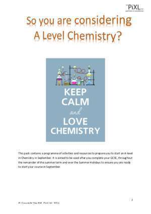 75 page qe : Transition Pack for A Level Chemistry