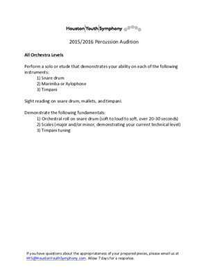 15-16 Percussion Audition - Houston Youth Symphony