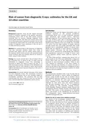 363 37 : Risk of cancer from diagnostic X-rays estimates for the