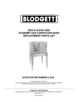18768 : SHO-G & SHO-100G ECONOMY GAS CONVECTION OVEN REPLACEMENT