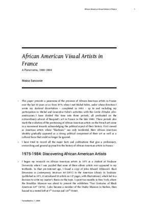 African American Visual Artists in France