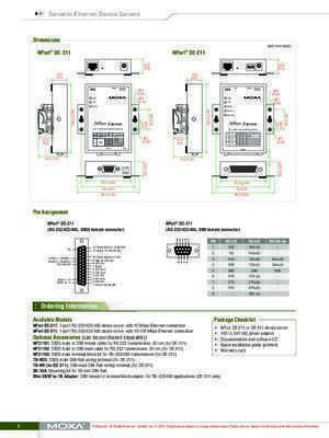 1-port RS-232/422/485 serial device servers - Moxa