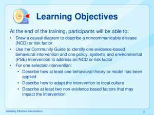 Selecting Effective Interventions - Centers for