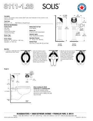 SOLIS 8111-1.28 Flushometers | Specification Sheet
