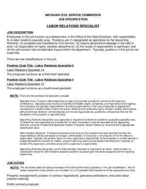 12744 : LABOR RELATIONS SPECIALIST Michigan