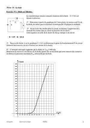 1 theme 10 la diode exercice n 1 diode au silicium l : 1 Thème 10 La diode Exercice N°1 Diode au Silicium La