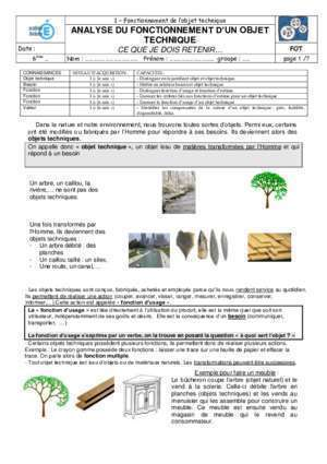 Fonctionnement et structure d'un objet : ANALYSE DU FONCTIONNEMENT D UN OBJET TECHNIQUE