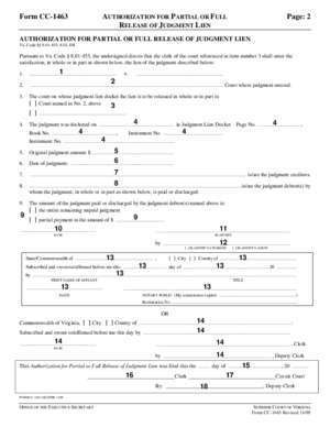 1463 : Form CC-1463 AUTHORIZATION FOR PARTIAL OR FULL Page