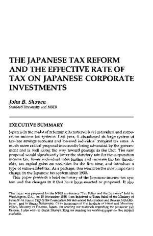 The Japanese Tax Reform and the Effective Rate of