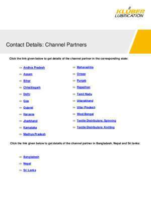 94432 : Contact Details Channel Partners KLUEBER