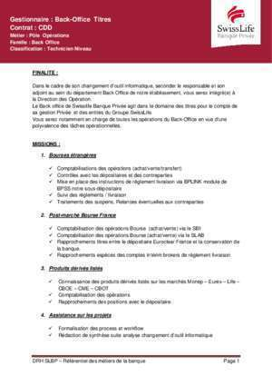 Gestionnaire : Back-Office Titres Contrat : CDD - SwissLife Banque ...