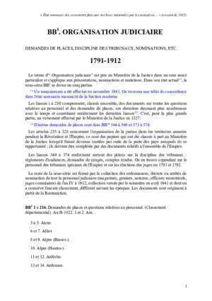 Bb5 : BB5 ORGANISATION JUDICIAIRE 1791-1912 Archives nationales
