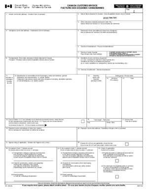 Au canada : CANADA CUSTOMS INVOICE when completed FACTURE DES DOUANES