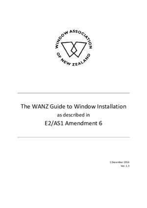 As1 2012 : The WANZ Guide to Window Installation E2 AS1 Amendment