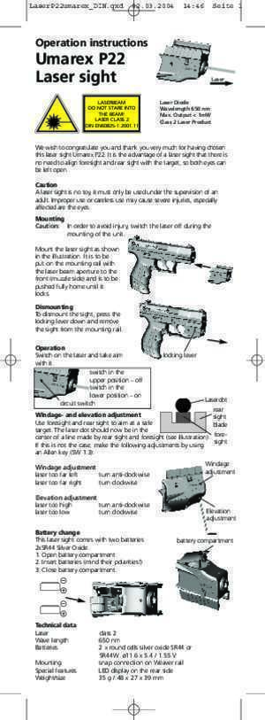 46 p22 : Operation instructions Umarex P22 Laser sight PW STORE