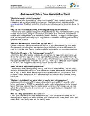 Yellow Fever Mosquito ( Aedes aegypti ) Fact Sheet