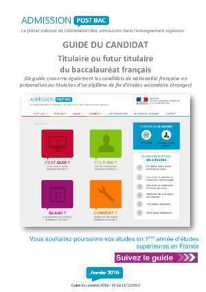 Candidats cycle a pro : Guide du candidat 2016 Admission Post Bac