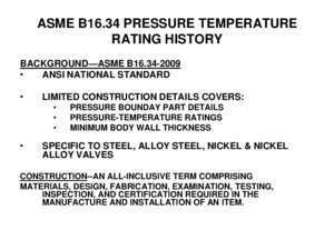 ASME B16.34 PRESSURE TEMPERATURE RATING HISTORY -
