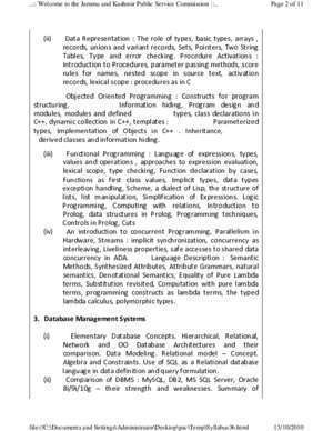 SYLLABUS FOR SCREENING TEST OF LECTURER COMPTUER SCIENCE 1