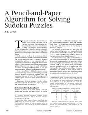 Ams 8 : A Pencil-and-Paper Algorithm for Solving Sudoku Puzzles