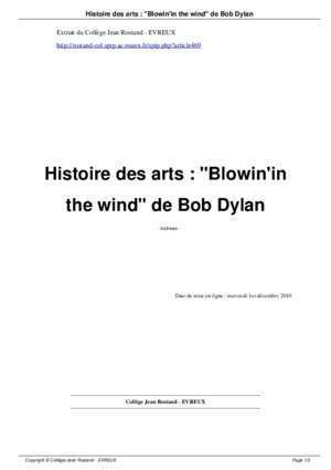 Blowin in the wind : Histoire des arts