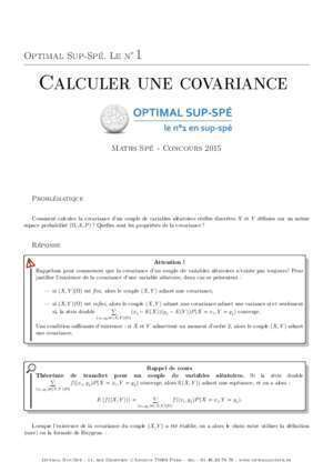 Calcule de covariance : Calculer une covariance Optimal Sup Spé
