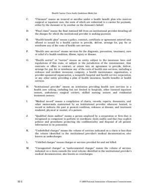 Audit des charges du personnel : Health Carrier Claim Audit Guidelines Model Act