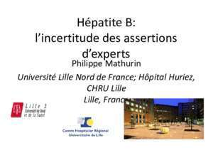 Buster hb : Hépatite B l incertitude des assertions d experts