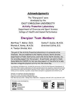 807 annee 2003 : Energizers for Grades K-2 East Carolina University
