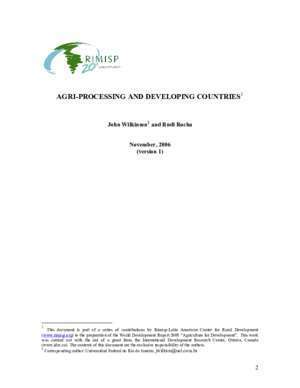 Agrofood : Agri-Processing and Developing Countries World Bank