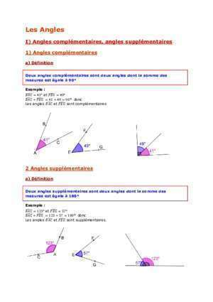 Angle complementaires : I) Angles complémentaires, angles supplémentaires