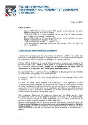 Autorisation d exercer : POLICIERS MUNICIPAUX ASSERMENTATION, AGREMENT ET CONDITIONS