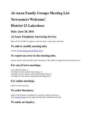 Al-Anon Family Groups Meeting List Newcomers Welcome