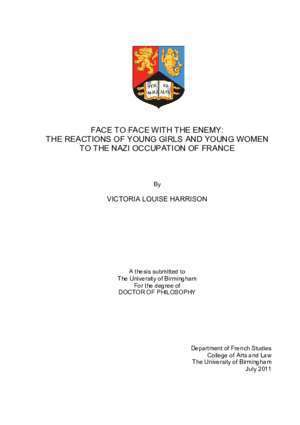 face to face with the enemy: the reactions of young girls and young ...
