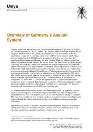 Asylum : Overview of Germany s Asylum System Uniya