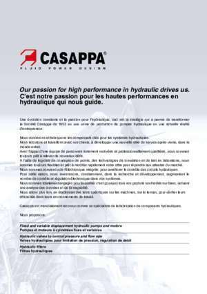 HYDRAULIC PUMPS, MOTORS - casappa.com