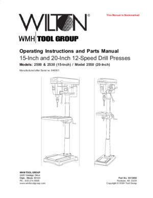 12 inch : Operating Instructions and Parts Manual 15-Inch