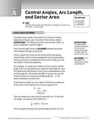 Arc et angle : CHAPTER 5 A Central Angles, Arc Length, and Sector Area
