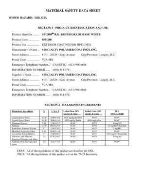 1090 850 : MATERIAL SAFETY DATA SHEET Protection