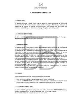1. CONDITIONS GENERALES - Bruni Glass