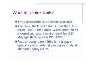 Organization/Structure of Think Tanks